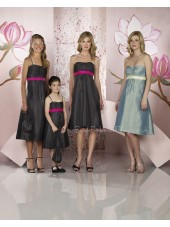 Black Sleeveless Ruffles/Sash Empire Taffeta Bridesmaid Dress