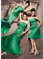 Ruffles Green Elastic-Satin Zipper Floor-length Bridesmaid Dress