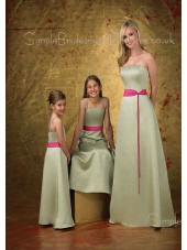 A-line Floor-length Sleeveless Satin Natural Bridesmaid Dress