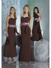Natural Chocolate Zipper Sleeveless Floor-length Bridesmaid Dress