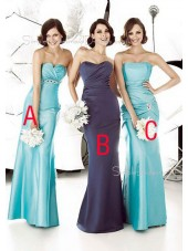 Ruffles Light-Sky-Blue Sheath Strapless Sleeveless Bridesmaid Dress