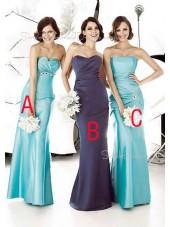 Ruffles Light-Sky-Blue Sheath Strapless Sleeveless Bridesmaid Dress