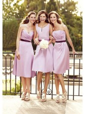 Sweetheart Lilac Tea-length A-line Natural Bridesmaid Dress