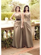 Brown Natural Sweetheart Satin A-line Bridesmaid Dress