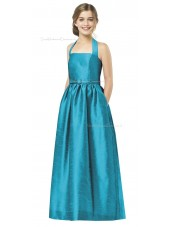 Blue Satin Halter Floor-length A-line Junior Bridesmaid Dresses