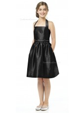 Halter A-line Satin Black Knee-length Junior Bridesmaid Dresses