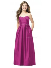 Sweetheart Floor-length A-line Strapless Satin Junior Bridesmaid Dresses