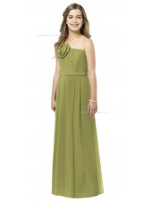Straps Spaghetti Green Chiffon Strapless Junior Bridesmaid Dresses