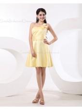 Sleeveless Flowers/Ruffles Natural Satin One-Shoulder Zipper Daffodil A-line Short-length Bridesmaid Dress