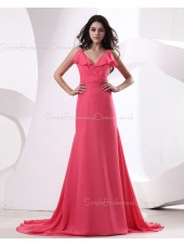 Ruffles/Draped Fuchisa Zipper Mermaid Floor-length V-neck Natural Sleeveless Chiffon Bridesmaid Dress
