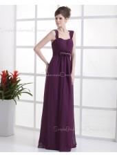 A-line Natural Grape Zipper Ruffles/Beading Chiffon Floor-length Sleeveless Straps Bridesmaid Dress