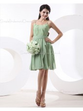 A-line Natural Sage Spaghetti-Straps Ruffles/Tiered Knee-length Chiffon Sleeveless Zipper Bridesmaid Dress
