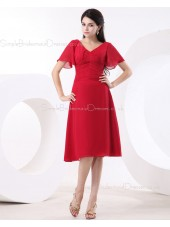 Zipper Red Empire A-line Floor-length Ruffles V-neck Chiffon Sleeveless Bridesmaid Dress