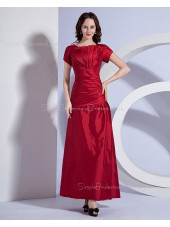 Zipper Brugundy Short-Sleeve Bateau A-line Ankle-length Ruffles Natural Taffeta Bridesmaid Dress
