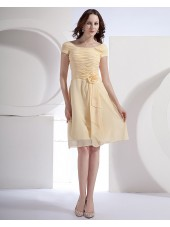 Short-Sleeve Daffodil Bateau Ruffles/Flowers A-line Knee-length Natural Zipper Chiffon Bridesmaid Dress