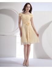 Short-Sleeve Daffodil Bateau Ruffles/Flowers A-line Knee-length Natural Zipper Chiffon Bridesmaid Dress