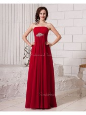 Ruffles/Beading/Draped Strapless Sleeveless Floor-length Natural A-line Zipper Burgundy Chiffon Bridesmaid Dress