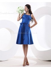 Natural Satin Royal-Blue Straps A-line Zipper Knee-length Sleeveless Ruffles/Sash/Bow Bridesmaid Dress