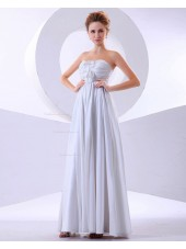 Empire A-line Sleeveless Rufffles/Flowers Floor-length Sweetheart Zipper White Chiffon Bridesmaid Dress