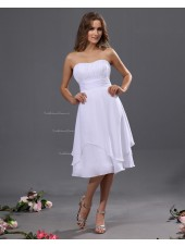 Floor-length Zipper White Ruffles/Tiered Chiffon Sleeveless Empire A-line Spaghetti-Straps Bridesmaid Dress