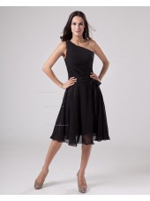 Ruffles/Sash A-line Sleeveless Knee-length Zipper Chiffon Natural Black One-Shoulder Bridesmaid Dress