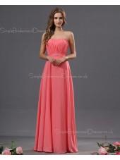 A-line Ruffles/Draped Zipper Chiffon Watermelon Sweetheart Natural Floor-length Sleeveless Bridesmaid Dress