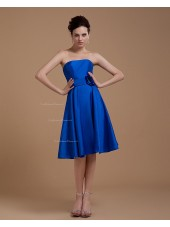 A-line Taffeta Natural Zipper Sleeveless Floor-length Royal-Blue Strapless Ruffles/Flowers Bridesmaid Dress