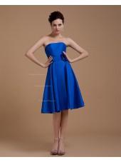A-line Taffeta Natural Zipper Sleeveless Floor-length Royal-Blue Strapless Ruffles/Flowers Bridesmaid Dress