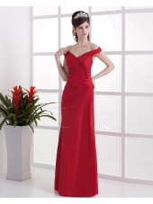 Natural V-neck Ruffles Lace Sleeveless Taffeta Red Sheath Up Floor-length Bridesmaid Dress