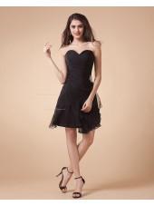 Ruffles/Tiered/Beading Short-length Sleeveless Natural A-line Sweetheart Chiffon Black Zipper Bridesmaid Dress