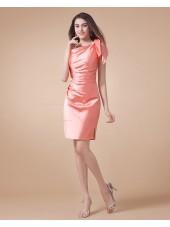 Watermelon A-line Elastic-Satin One-Shoulder Natural Ruffles Sleeveless Zipper Short-length Bridesmaid Dress