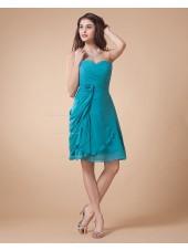 Sleeveless Floor-length Ruffles/Flowers Chiffon Blue Zipper Sweetheart A-line Natural Bridesmaid Dress