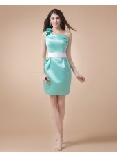 Sage Mini Satin Ruffles Natural Floor-length Zipper One-Shoulder Sleeveless Bridesmaid Dress