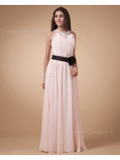 Ruffles/Flowers/Draped/Beading Sleeveless Halter Chiffon Natural Zipper A-line Floor-length Ivory Bridesmaid Dress