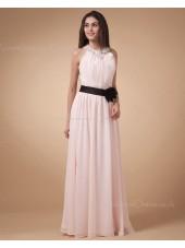 Ruffles/Flowers/Draped/Beading Sleeveless Halter Chiffon Natural Zipper A-line Floor-length Ivory Bridesmaid Dress