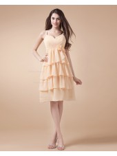 Spaghetti-Straps Natural Chiffon Sleeveless Zipper Daffodil A-line Ruffles/Tiered/Flowers Knee-length Bridesmaid Dress