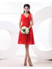 V-neck Zipper Red Knee-length Natural Ruffles Sleeveless Chiffon A-line Bridesmaid Dress