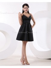 A-line Spaghetti-Straps Short-length Black Ruffles Sleeveless Satin Natural Zipper Bridesmaid Dress