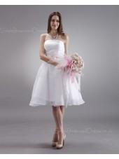 A-line Strapless Sleeveless Ruffles/Sash Knee-length Organza Natural White Zipper Bridesmaid Dress