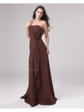 A-line Sleeveless Ruffles/Flowers/Draped Strapless Natural Floor-length Chiffon Zipper Chocolate Bridesmaid Dress