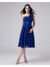 One-Shoulder A-line Chiffon Knee-length Natural Ruffles/Sash/Flowers Zipper Royal-Blue Sleeveless Bridesmaid Dress