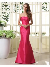 Mermaid Fuchisa Floor-length Zipper Natural Sleeveless Strapless Taffeta Ruffles Bridesmaid Dress