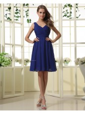 Chiffon Natural Knee-length Zipper V-neck Ruffles Royal-Blue Sleeveless A-line Bridesmaid Dress