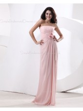 Natural Strapless Sleeveless Chiffon Floor-length Sheath Ruffles/Flowers Zipper Pearl-Pink Bridesmaid Dress