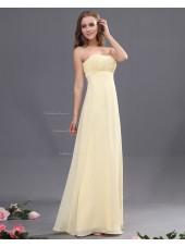 Zipper Ruffles/Draped Sleeveless Sheath Chiffon Daffodil Natural Sweetheart Floor-length Bridesmaid Dress