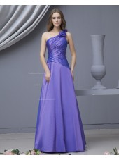 Floor-length Sleeveless A-line Lilac Ruffles/Flowers Zipper Natural Taffeta One-Shoulder Bridesmaid Dress