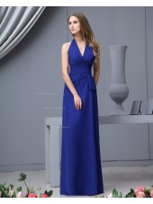Sleeveless V-neck Chiffon Zipper Natural Royal-Blue Ruffles/Bow Floor-length A-line Bridesmaid Dress