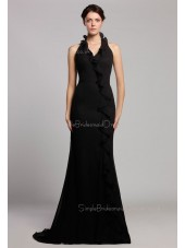 Floor-length Halter Zipper Black Chiffon Mermaid Dropped Sleeveless Tiered Bridesmaid Dress