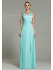 Sheath Floor-length Natural Sleeveless Light-Sky-Blue Beading/Ruffles Zipper Halter Chiffon Bridesmaid Dress