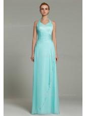 Sheath Floor-length Natural Sleeveless Light-Sky-Blue Beading/Ruffles Zipper Halter Chiffon Bridesmaid Dress